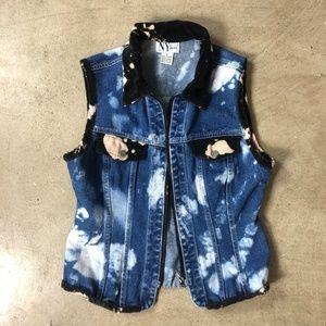 Vintage Velvet Trim Bleach Dyed Denim Vest